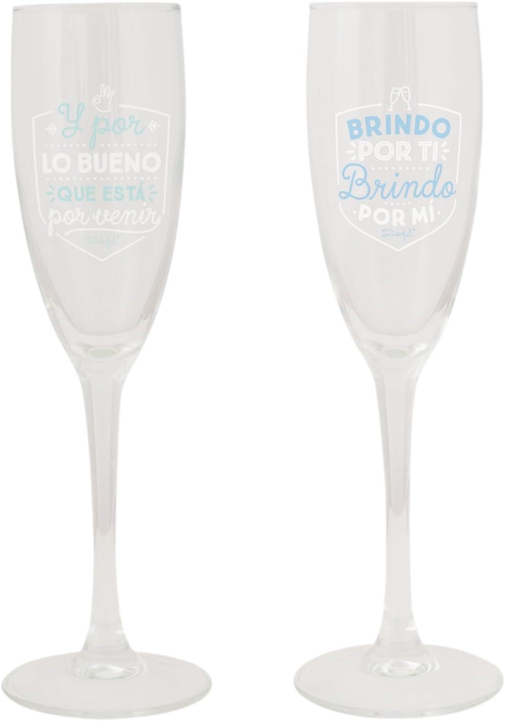 Mr. Wonderful Copas para brindar por lo Bueno Que está por Llegar, Pack de 2 Unidades, Cristal, 14.6x11.5x14.8 cm