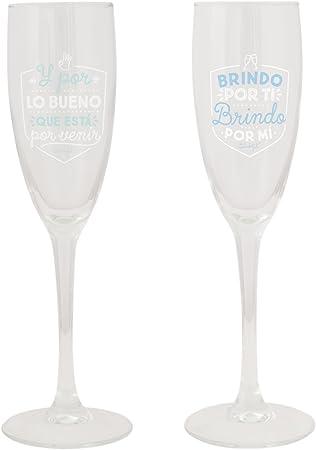 Mr. Wonderful Copas para brindar por lo Bueno Que está por Llegar, Pack de 2 Unidades, Cristal, 14.6x11.5x14.8 cm: Amazon.es: Hogar