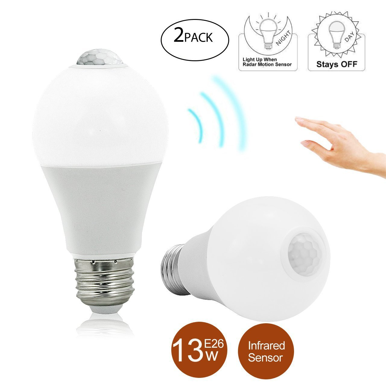 BRTLX PIR Motion Sensor LED Bulb A19 13W E26 3000K Warm White Auto On/Off Night Lights for Stairs Garage Corridor Pack of 2
