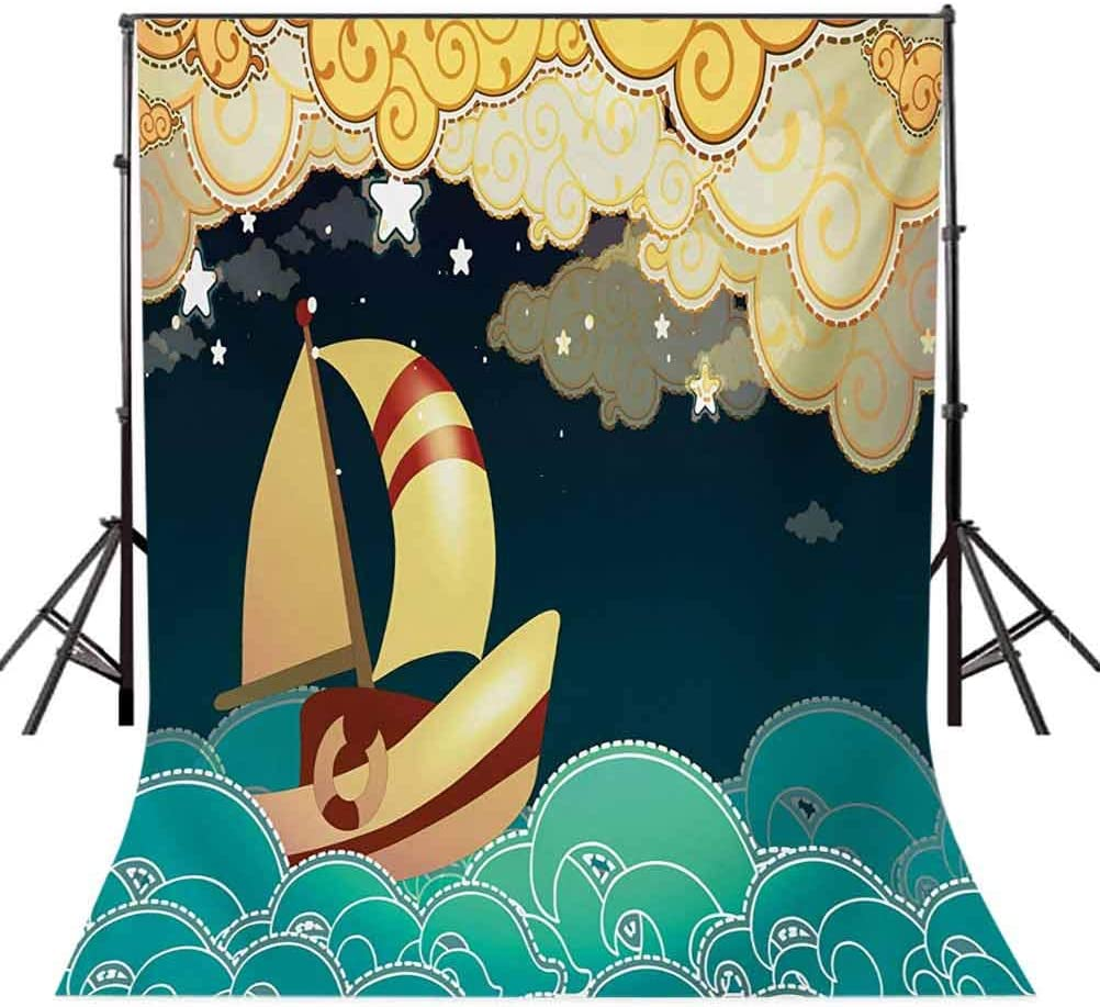 8x10 FT Backdrop Photographers,Kids Fairy Tale Fantasy Magical Night Time Sailing Ship on Curly Waves Background for Kid Baby Boy Girl Artistic Portrait Photo Shoot Studio Props Video Drape Vinyl