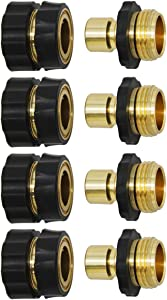 Lifynste 3/4 Inch Garden Hose Quick Connector Fittings, Brass Easy Connector Fitting, Male and Female Set, 4 Sets