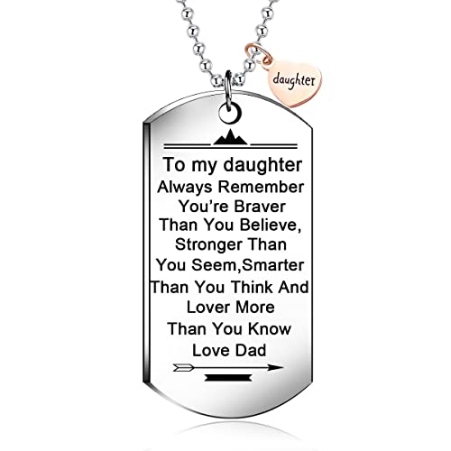 NOVLOVE To My Daughter From Dad Stainless Steel Dog Tag
