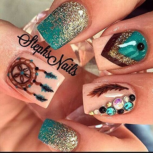 Amazon Com 12 Sets Modern Boho Mandala Mehndi Nail Art