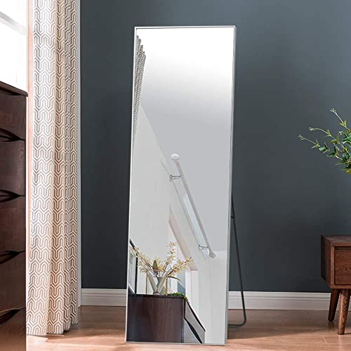 NeuHome Full Length Mirror Wall-Mounted Mirror Floor Mirror with Holder, Hanging or Leaning on The Wall, Best for Bedroom, Living Room, Clothing Shop and More Silver 65 x 22