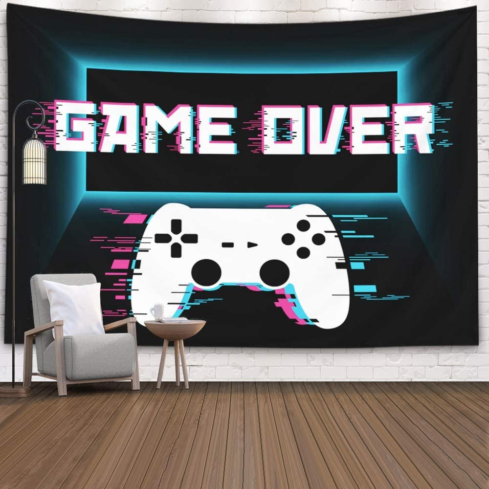 Crannel Gaming Wall Tapestry, Conceptual Abstraction Modern Controller Realistic Game Wireless Mockup Tapestry 80x60 Inches Wall Art Tapestries Hanging Dorm Room Living Home Decorative,Black Blue