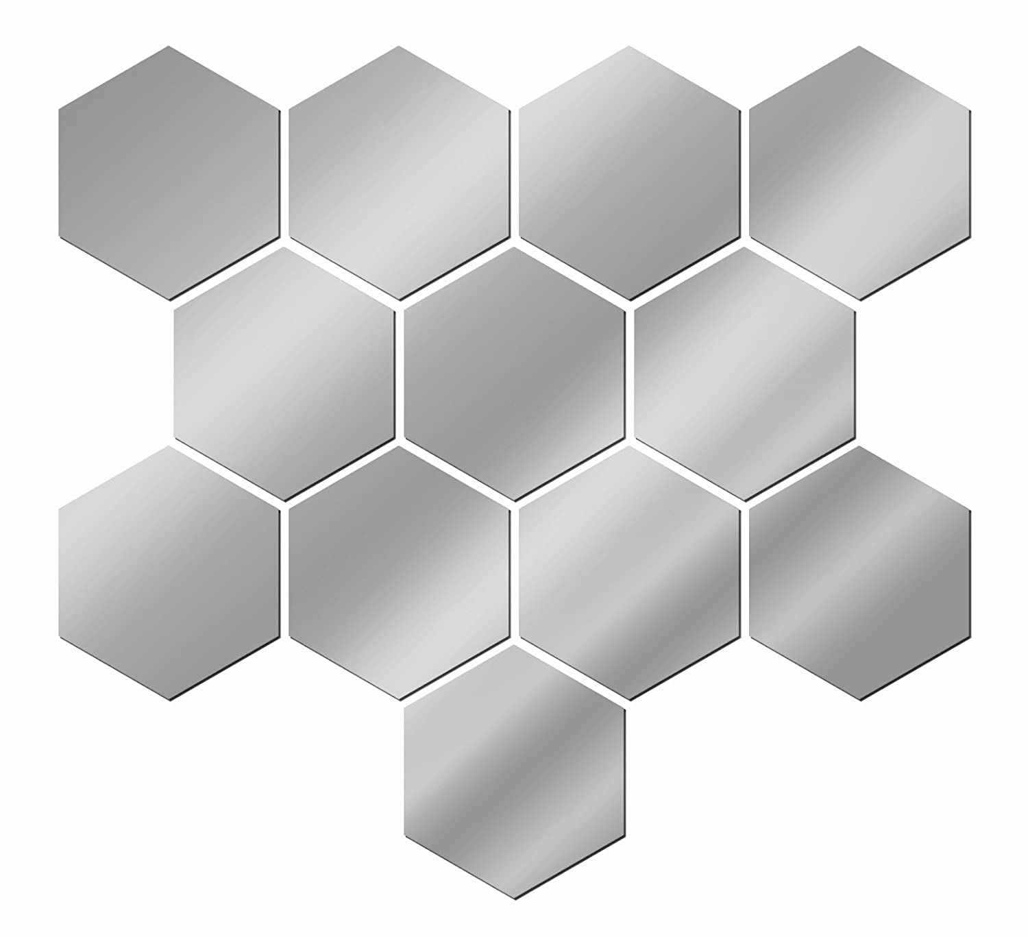 Justnile decorative hexagonal wall stickers 12pc silver for Small silver mirror