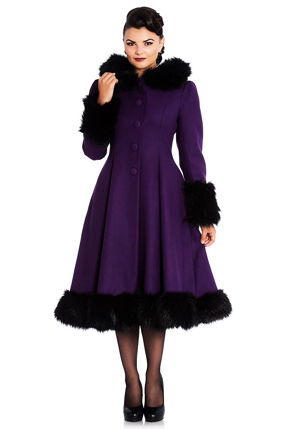 Vintage Coats & Jackets | Retro Coats and Jackets STUNNING purple black HELL BUNNY ELVIRA long VTG COAT XS S M L XL 10 12 14 16 BEAUTIFUL & ELEGANT 1950s 50s MARILYN evening glamour £112.49 AT vintagedancer.com