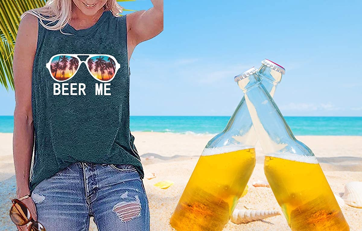 Umsuhu Beer Tank Tops Shirts for Women Summer Graphic Sleeveless Tank Tops Tee Shirts Loose fit