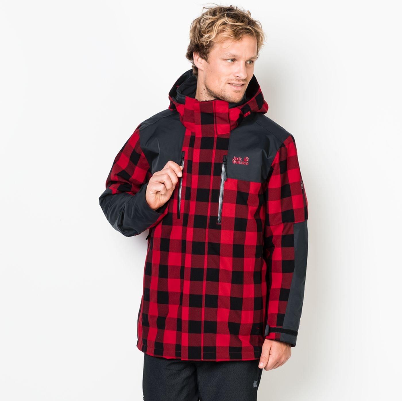 Winterjacke Jack Wolfskin Timberwolf Ruby Red Check Damen