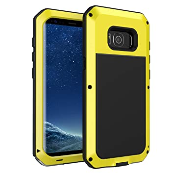 seacosmo Funda Compatible con Galaxy S8, [Rugged Armour] de Choque Resistente Carcasa Heavy Duty Estuche Anti-choques Metal Case, Amarillo