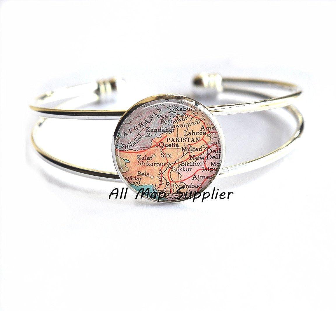 AllMapsupplier Charming Bracelet,Pakistan map Bracelets Pakistan Bracelet map jewelry Pakistan map Bracelet,A0113/ Pakistan Bracelets