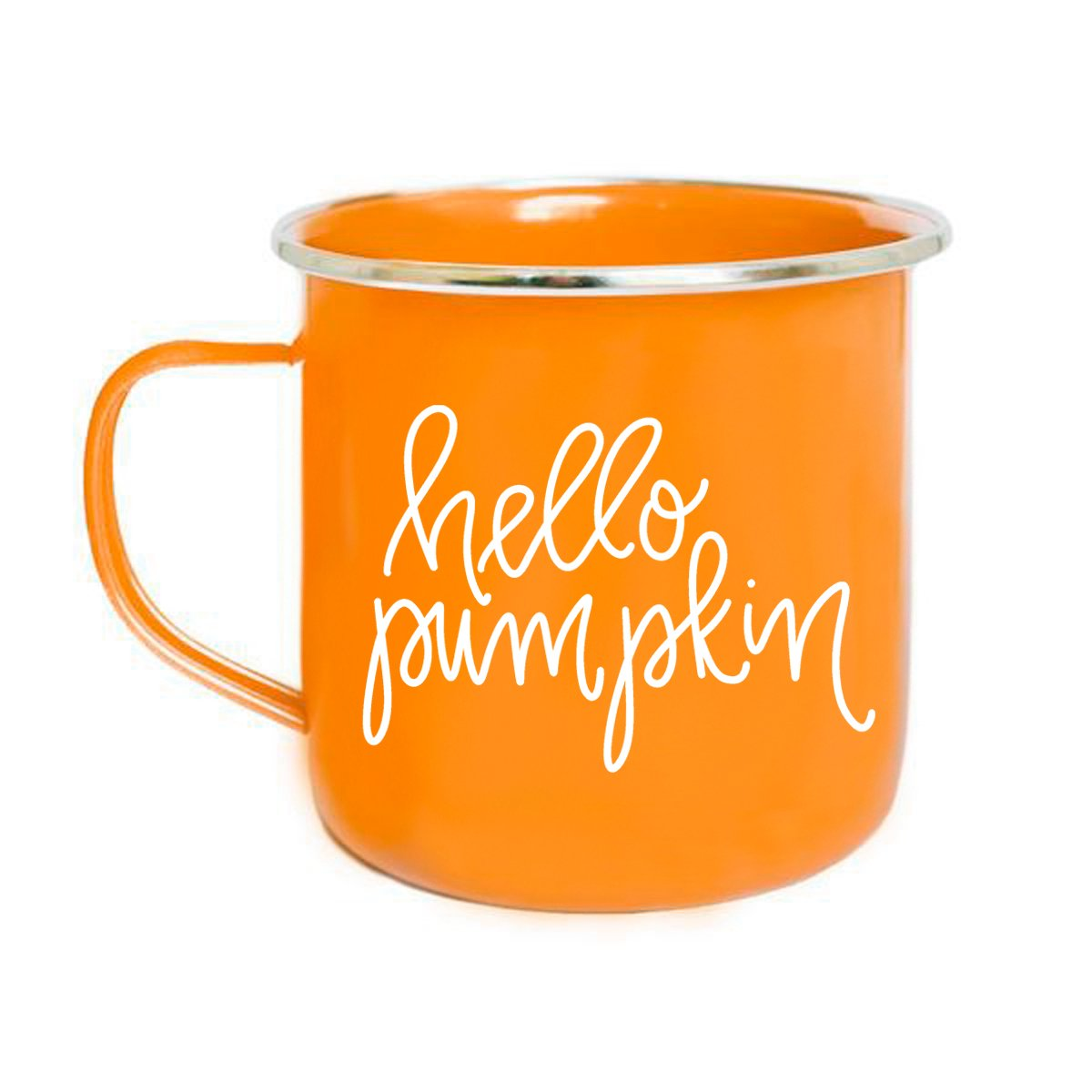 Hello Pumpkin Campfire Mug | Large Orange PSL Tea-Cup Coffee Lover Gift for Her Fall Decorations Orange Spice Halloween Camping Outdoor Accessories PSL