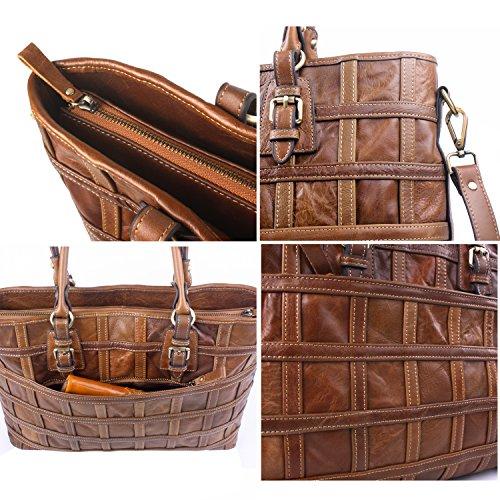 Ainimoer Women's Leather Large Cross Body Purse Vintage Bags Unisex Shoulder Satchel Tote Bag Handbags(brown) A5022-new Brown