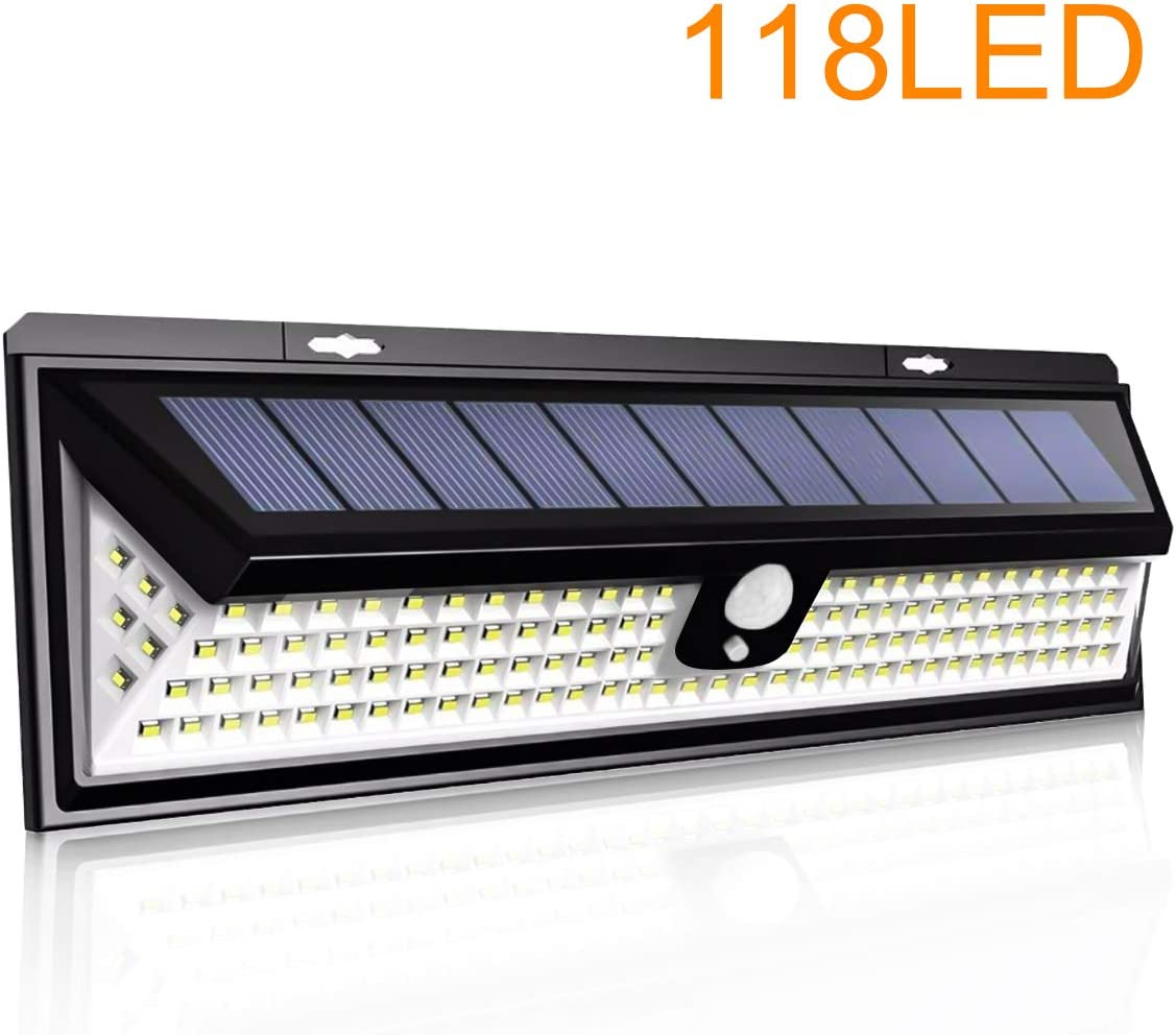 NEWLITE Upgraded 118 LED Solar Lights Outdoor, Solar Powered Motion Sensor Lights Waterproof IP 65 Patio Wall Light Wireless Security Night Light with 270 Beam Angle for Garden, Front Door, Yard