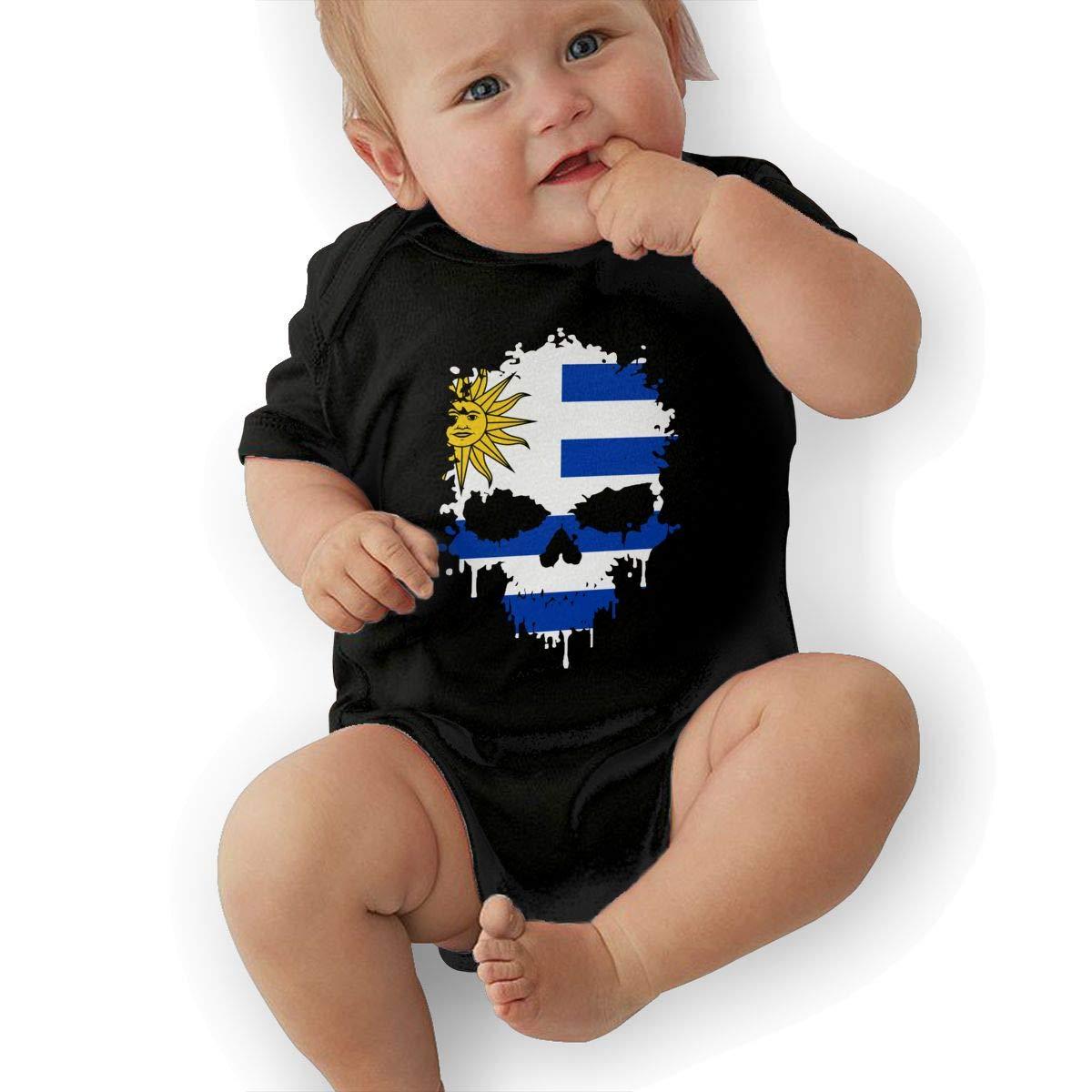 Fashion Uruguay Skull Crawler U88oi-8 Short Sleeve Cotton Rompers for Baby Girls Boys