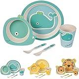 BIOZOYG Set da Cucina in bambù per Bambini da 5 Pezzi Motivo: Balena I Servizio da tavola per Bambini Ciotola Muesli Bicchiere Piatti Bambini I Riciclaggio del Materiale Naturale Senza BPA