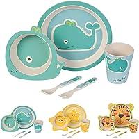 BIOZOYG Set da Cucina in bambù per Bambini da 5 Pezzi I Servizio da tavola per Bambini Ciotola Muesli Bicchiere Piatti Bambini I Riciclaggio del Materiale Naturale Senza BPA