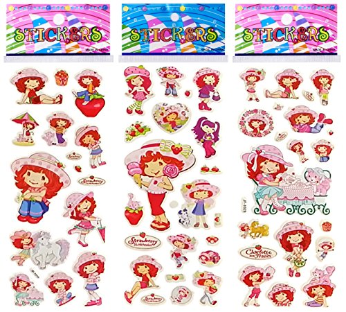 6 Sheets Puffy Dimensional Scrapbooking Party Favor Stickers + 18 FREE Scratch and Sniff Stickers - STRAWBERRY -