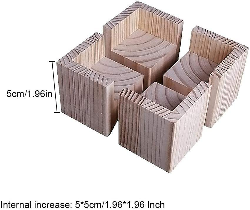 lolly-U 4 PCS Bed Risers Heavy Duty Furniture Risers Stackable And Adjustable Bed Frame Risers Create Under Bed Storage Heavy Duty Set Wood Color