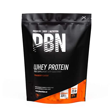 PBN - Proteína de suero de leche en polvo, 1 kg (sabor fresa)
