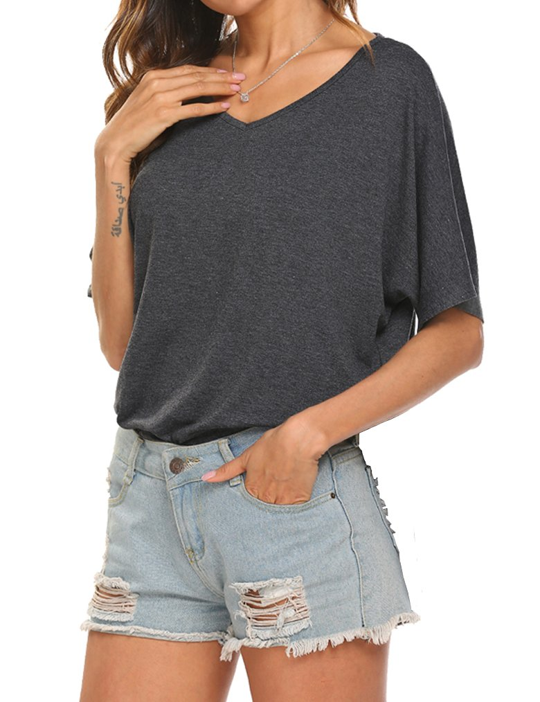 Tobrief Women's Casual V-Neck Raglan Short Sleeve Side Slit Loose T-Shirt (L, Dark Gray1)
