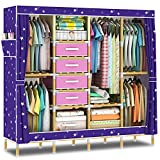 HHAiNi 65'' Portable Wooden Armoire Wardrobe Closet for Bedroom, Super Large Family Cabinet Storage Organizer, Free 4 Drawers, Sturdy Solid Coated Wood