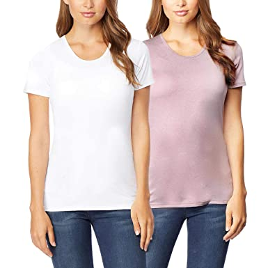 687bfb585 32 DEGREES Cool Women's 2pk Short Sleeve Scoop Neck (White/Blush,Small)