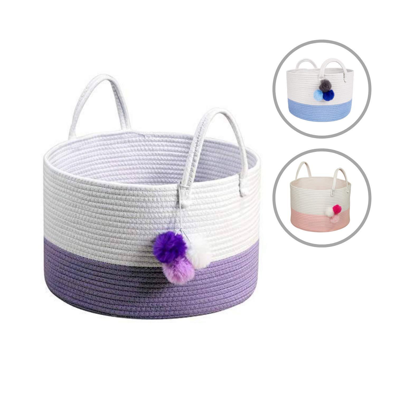 Amazon Com Solaya Tall Purple Cotton Rope Basket Storage