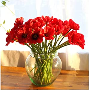 10 PCS High Quaulity Fresh Artificial Mini Real Touch PU/ latex Corn Poppies Decorative Silk fake artificial poppy flowers for Wedding holiday Bridal Bouquet Home Party Decor bridesmaid (Red - 20Pcs)