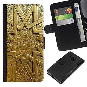 WINCASE Cuadro Funda Voltear Cuero Ranura Tarjetas TPU Carcasas Protectora Cover Case Para HTC One M9 - patrón de sol de oro puerta metálica antigua