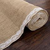 AK Trading 40' Wide Natural Burlap Wedding Aisle Runner with Ivory Lace - 40' Wide x 50 feet Long