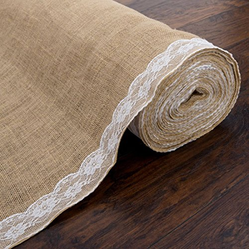 AK Trading 40' Wide Natural Burlap Wedding Aisle Runner with Ivory Lace - 40' Wide x 30 feet Long