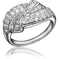 BLOOMCHARM Wonder Land 18K Gold Plated Cubic Zirconia Engagement Wedding Ring, Gifts for Women Girls