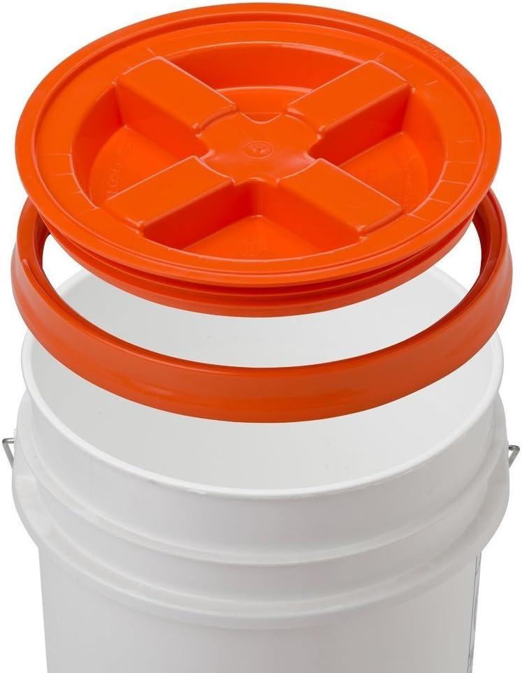 5 Gallon White Bucket & Gamma Seal Lid - Food Grade Plastic Pail & Gamma2 Screw Seal Tight Lid (Orange)