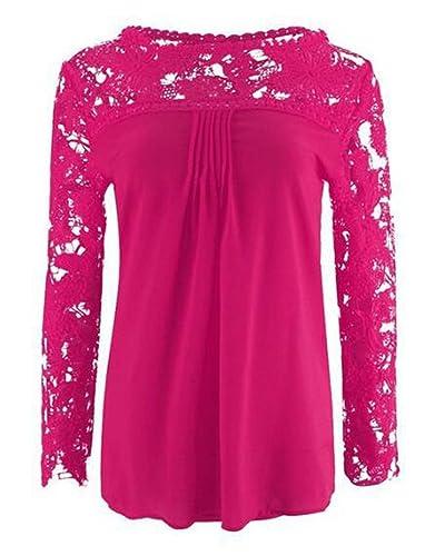 LemonGirl Women Lace Long Sleeve Blouse Shirt Tops