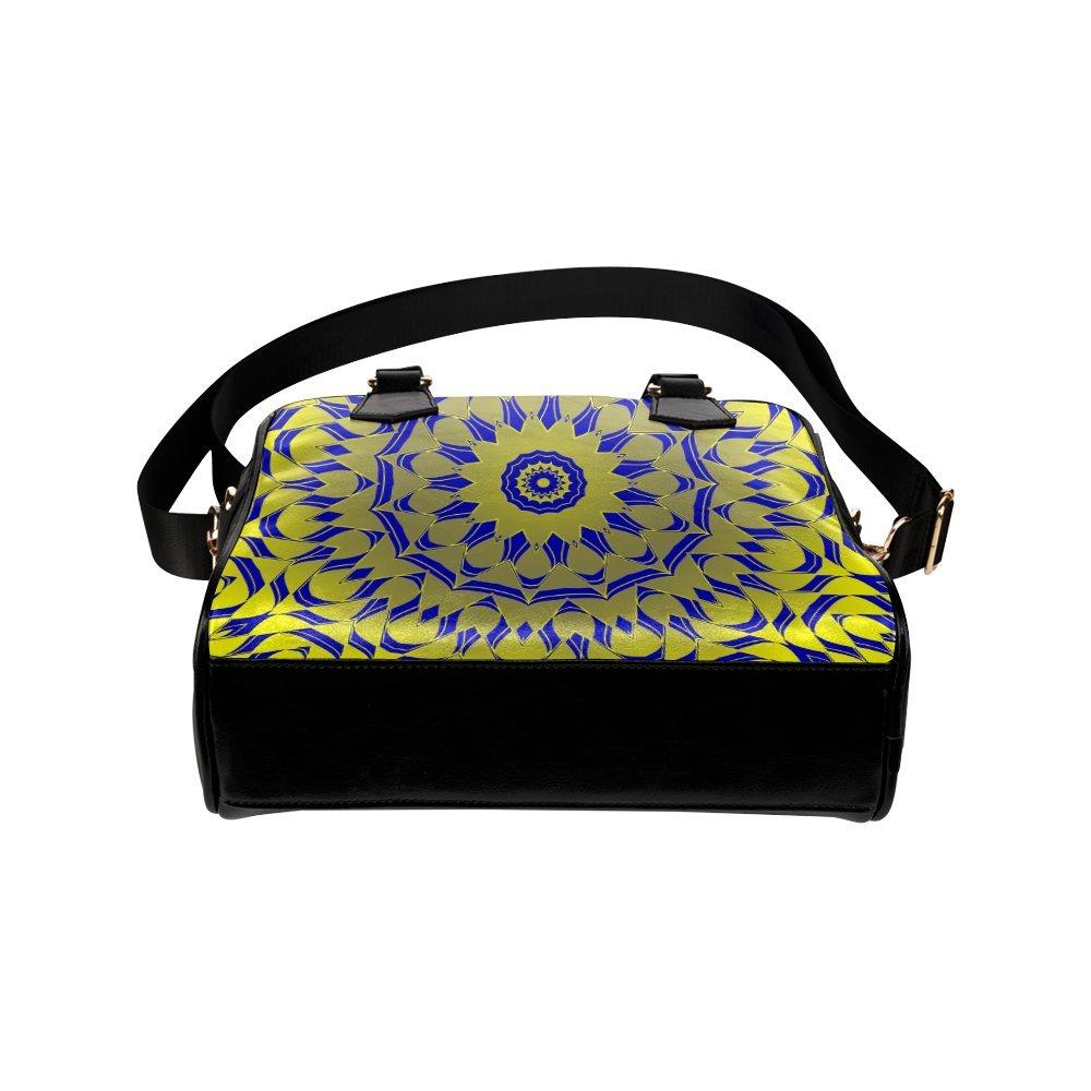 LEINTEREST Yellow Blue Gold Mandala Women Top Handbag Shoulder Bag