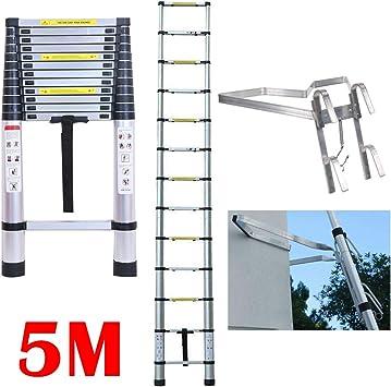 Escalera plegable de 5 m, 13 escalones telescópica, escalera de aluminio resistente, con soporte en forma de V de aluminio, antideslizante, EN131, carga de seguridad de 330 libras: Amazon.es: Bricolaje y herramientas