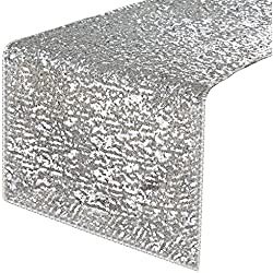 "PONY DANCE Sequins Table Runner - Rectangular Sparkling Party/Wedding/Holiday Table Runners for Banquet Event Dinner Decoration Christmas Home Decor, 14"" x 108"", Silver"