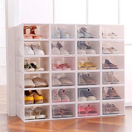 Sinbide 6 x / 12 x Cajas de Zapatos Plástico, Caja Guardar Zapatos, Calcetines, Juguetes, Cinturones para la Organización de Hogar, Oficina, Plegable, 31.5cm*21.5cm*12.5cm (Blanco, 12): Amazon.es: Hogar