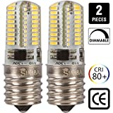 [2 Pack] Simba Lighting™ LED E17 4W 72SMD3014 Light Bulb for Under Microwave, Appliance, Ceiling Fan, 40W Halogen Replacement 300lm 120V Daylight 6000K Dimmable