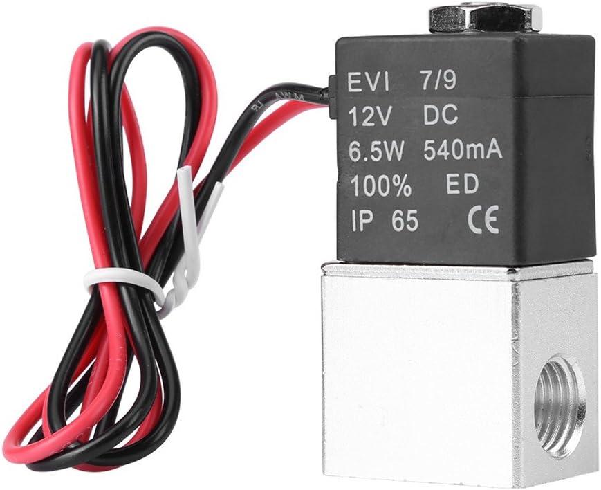 Válvula de aire de solenoide neumática en aluminio neumática Normalmente cerrada de 1/4inch DC 12V 2