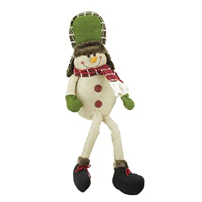 """GALLERIE II 25"""" Plush Plaid Snowman with Hat Shelf Sitter Christmas Figurine: Toys & Games"""