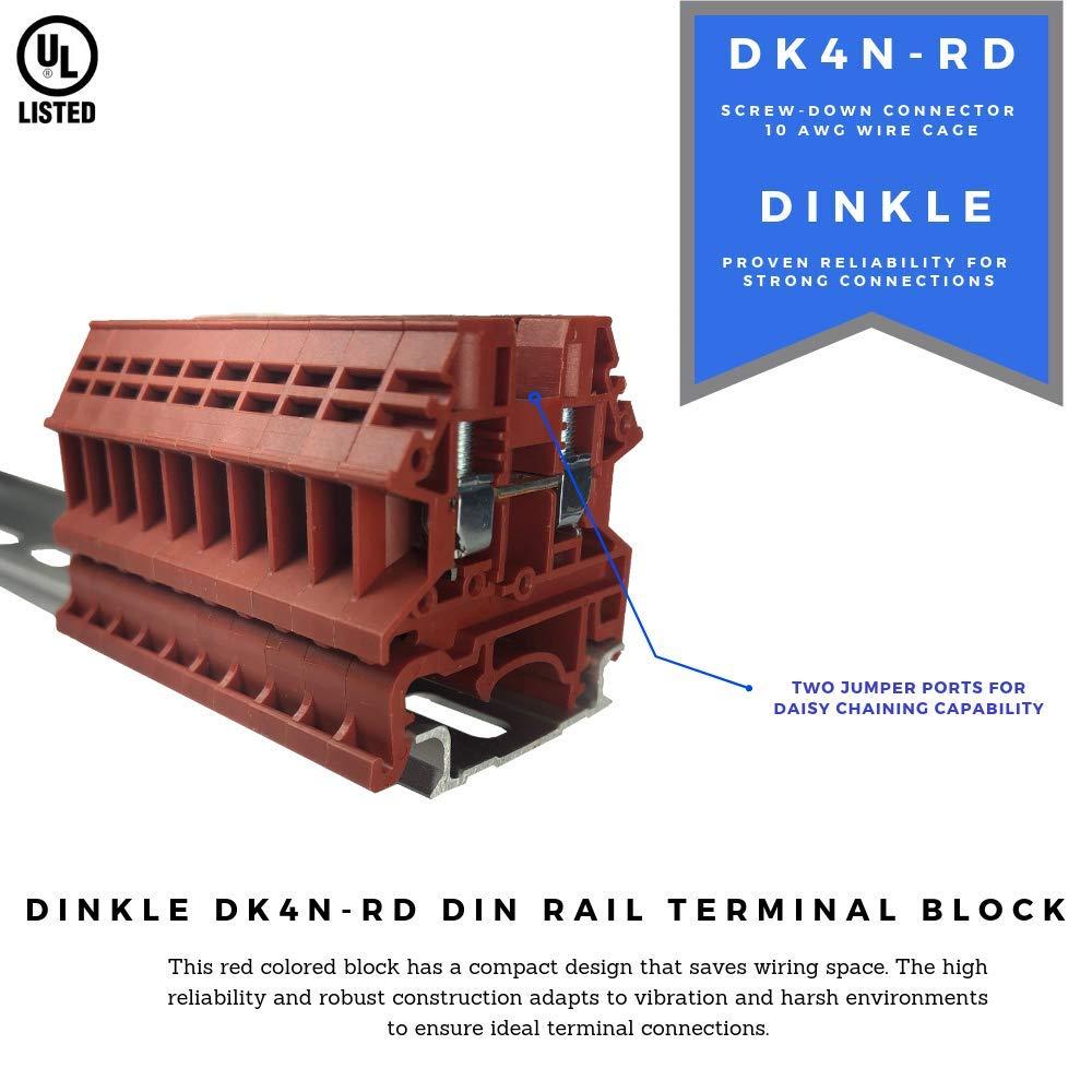 600V 30A DINKLE 4MM 10 PIECE RED DIN RAIL PACK
