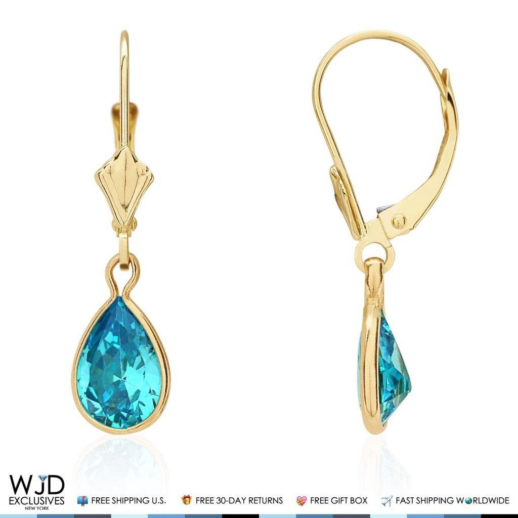 14k Yellow Gold Teardrop Bezel Birthstone Dangle Leverback Earrings 1'', Amethyst by WJD Exclusives (Image #6)
