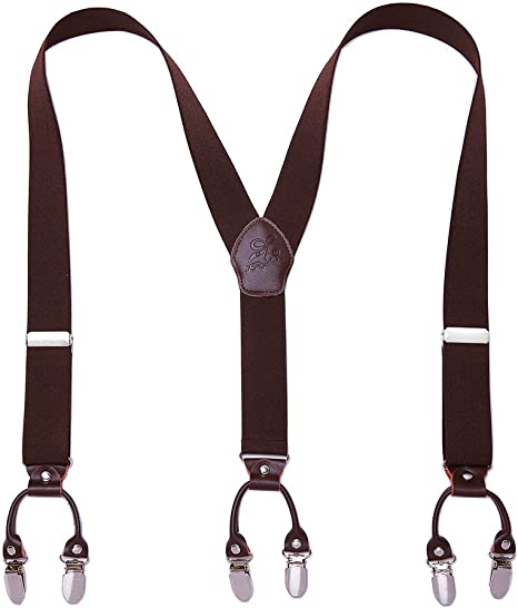 Men Suspneders Y Back KANGDAI 6 Clips Wide Solid Color Suspenders for Tuxedo /& Wedding