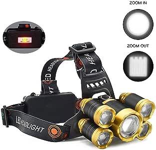 Oro 10000 l/úmenes Linterna de linterna de LED Luces de cabeza recargables 5 Linterna de cabeza de trabajo de linterna de LED con luz roja para la pesca Linterna de LED