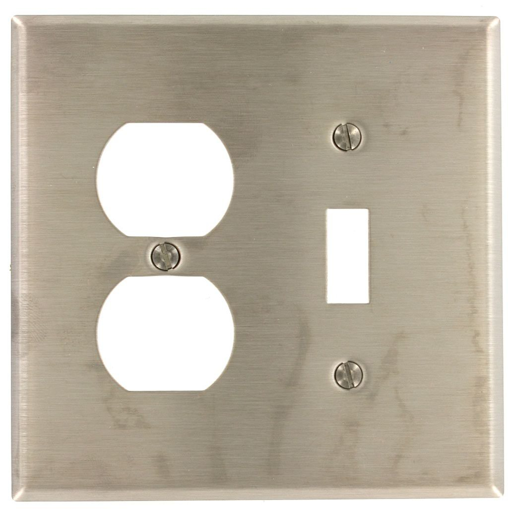 Leviton SSJ18-40 2-Gang, 1-Toggle, 1-Duplex Receptacle Stainless Steel, Midway Size Wallplate, Stainless Steel
