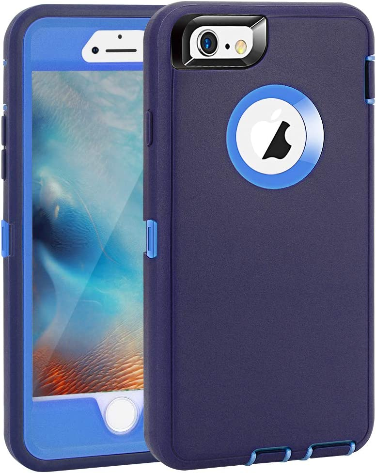 """iPhone 6 Plus/6S Plus Case, Maxcury Heavy Duty Shockproof Series Case for iPhone 6 Plus /6S Plus (5.5"""") with Built-in Screen Protector Compatible with All US Carriers (Navy/Blue)"""