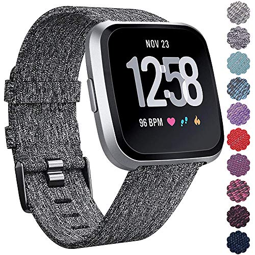 QIBOX Bands Compatible Fitbit Versa, Woven Fabric Wrist Strap Watch Special Edition Replacement Bands Classic Square Stainless Steel Buckle Compatible Fitbit Versa Smart Watch ()