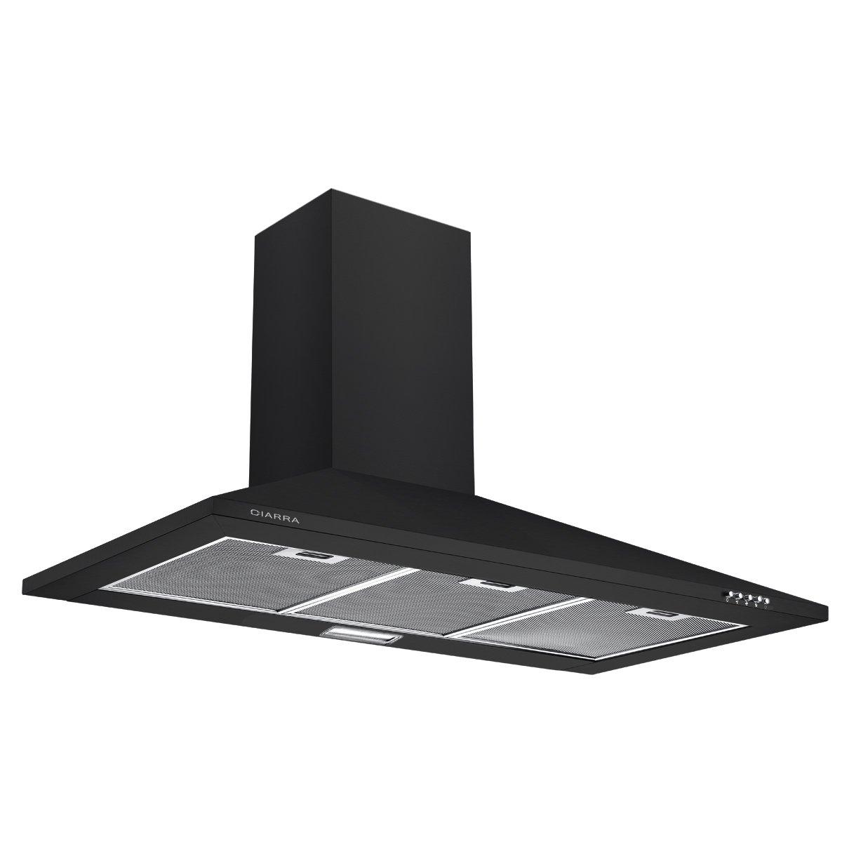 CIARRA CBCB9201- Campana Extractora Cocina 90 cm, Acero Inoxidable, Lámpara LED, 380m³/h, Filtros de Grasa, Reciclaje y Conductos (Negro) [Clase de eficiencia energética C]